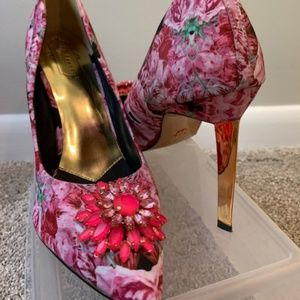 Ted Baker Peetch Embellished Pink Floral Pumps